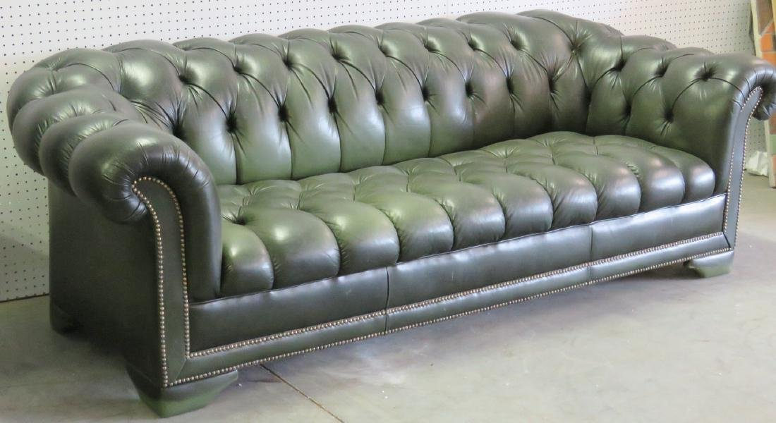 GREEN LEATHER CHESTERFIELD SOFA - 2