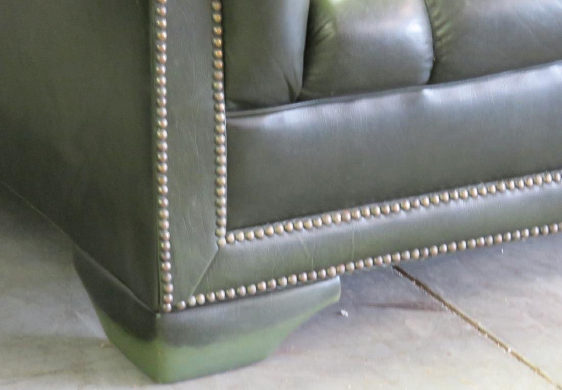 GREEN LEATHER CHESTERFIELD SOFA - 3