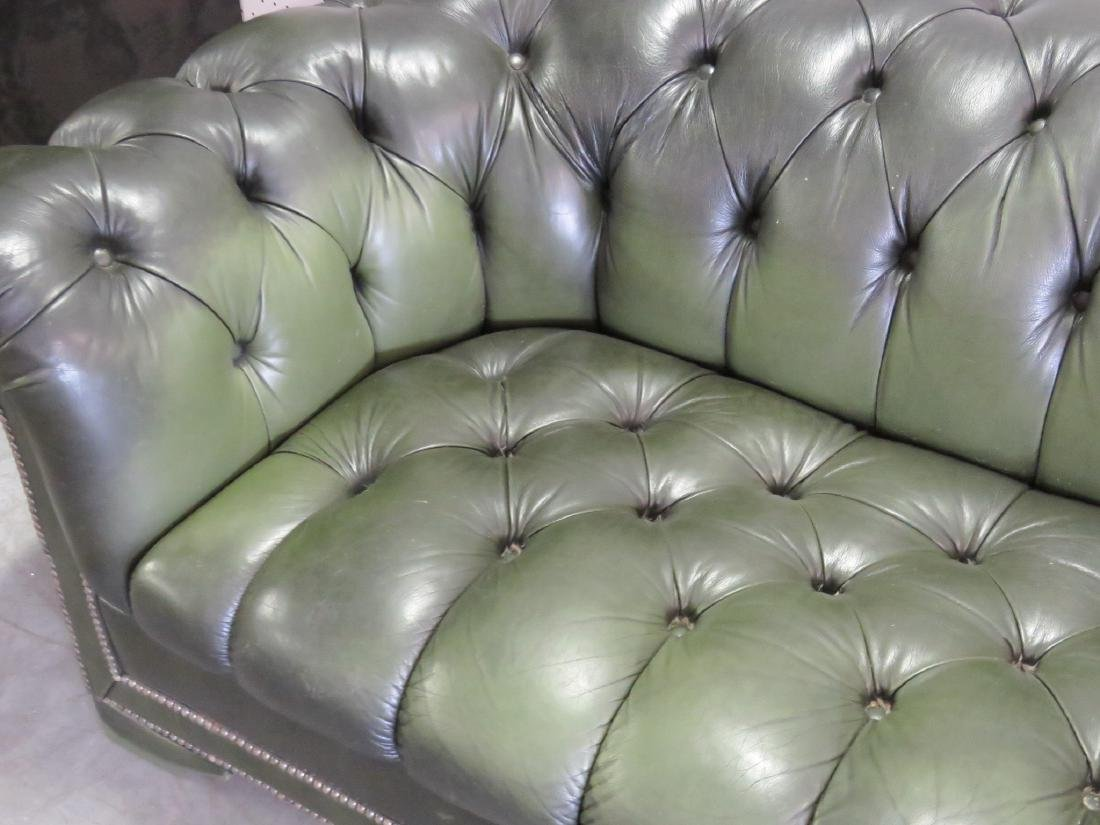 GREEN LEATHER CHESTERFIELD SOFA - 5