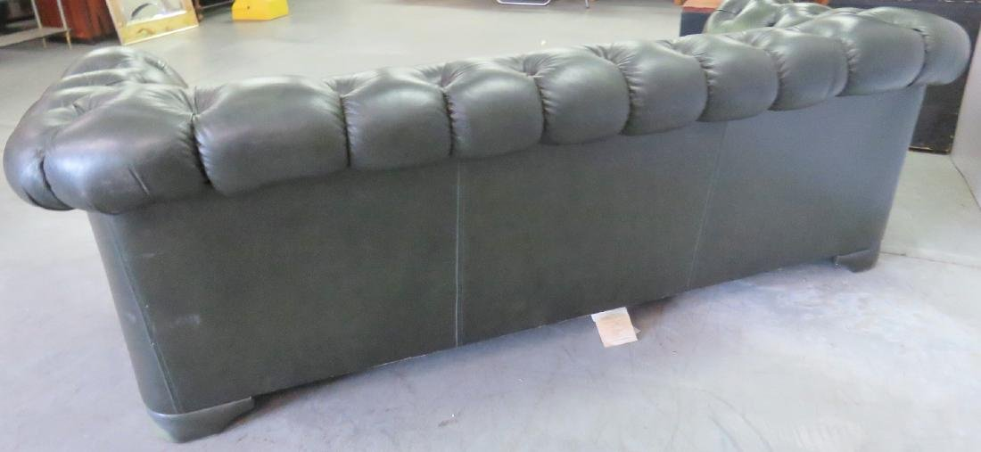 GREEN LEATHER CHESTERFIELD SOFA - 6