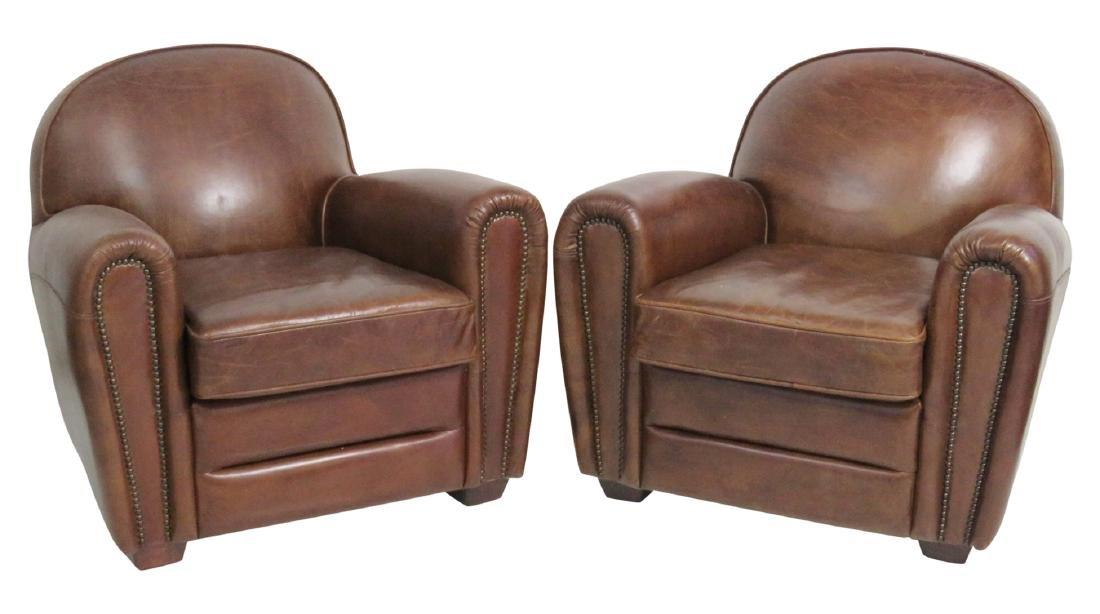 Pair FRENCH DECO STYLE LEATHER CLUB CHAIRS