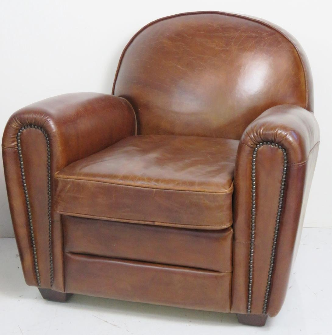 Pair FRENCH DECO STYLE LEATHER CLUB CHAIRS - 2