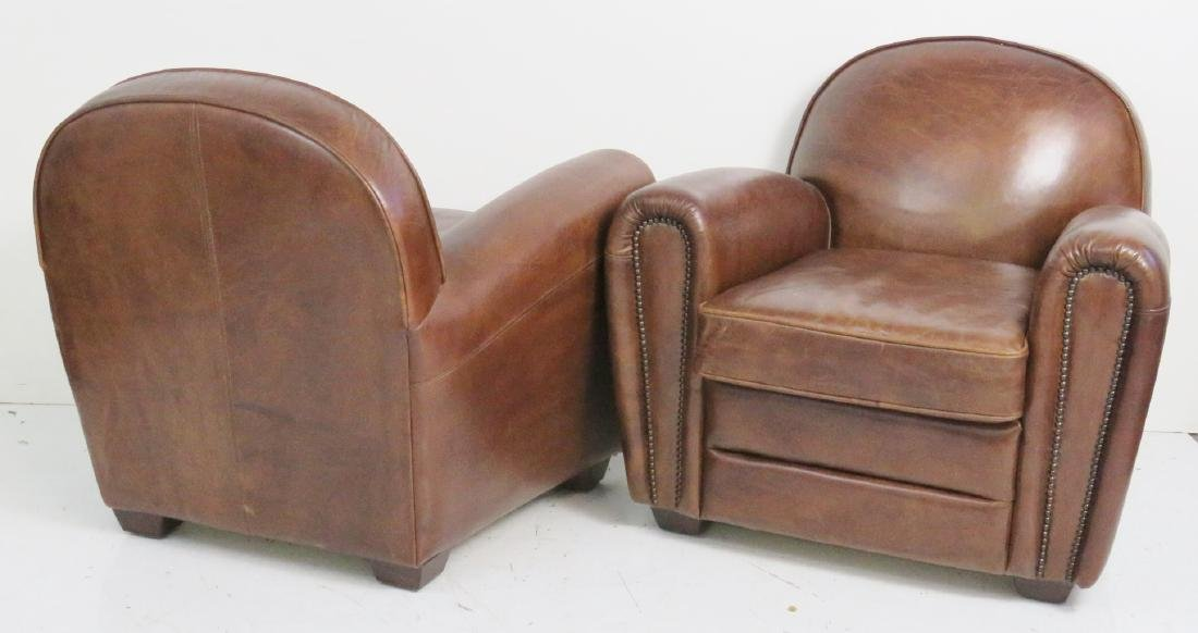Pair FRENCH DECO STYLE LEATHER CLUB CHAIRS - 4
