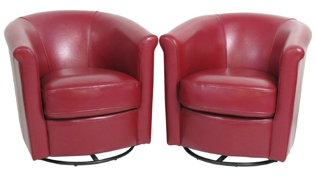 Pair RED LEATHER SWIVEL CLUB CHAIRS
