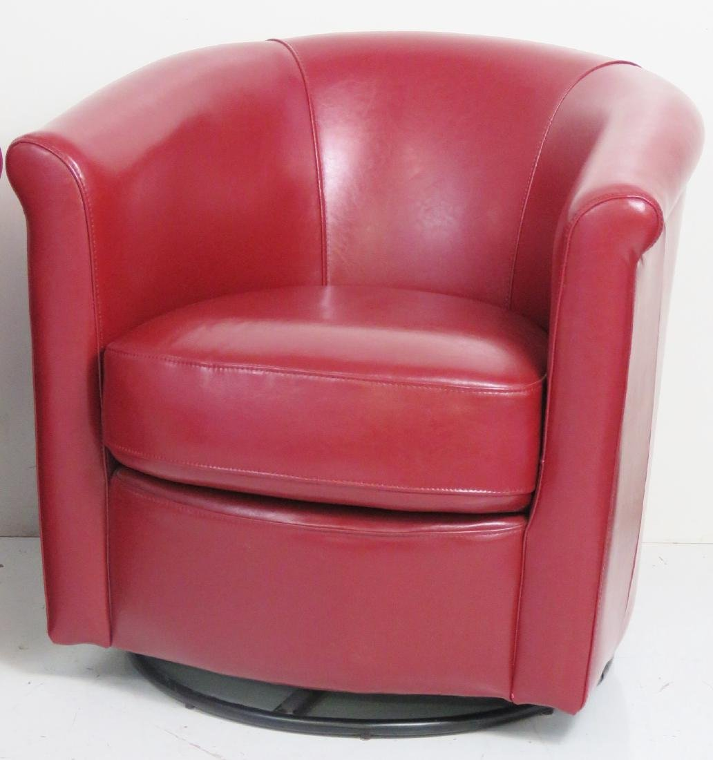 Pair RED LEATHER SWIVEL CLUB CHAIRS - 2