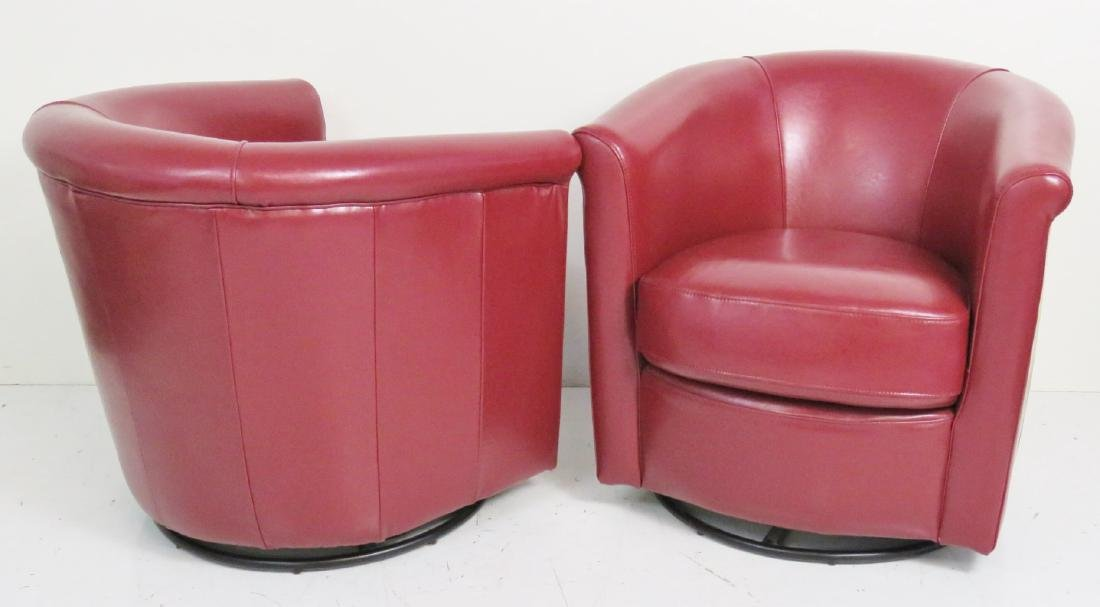 Pair RED LEATHER SWIVEL CLUB CHAIRS - 4