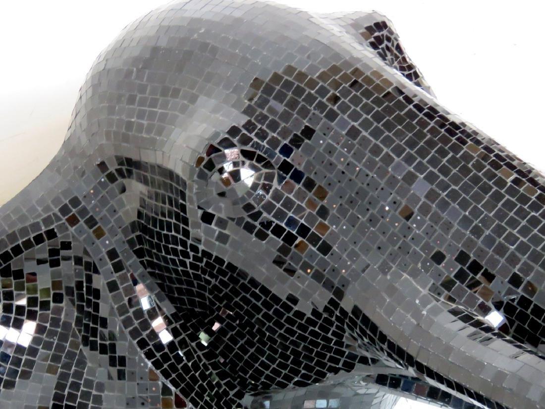 BLACK MOSAIC GLASS ELEPHANT HEAD SCULPTURE - 4