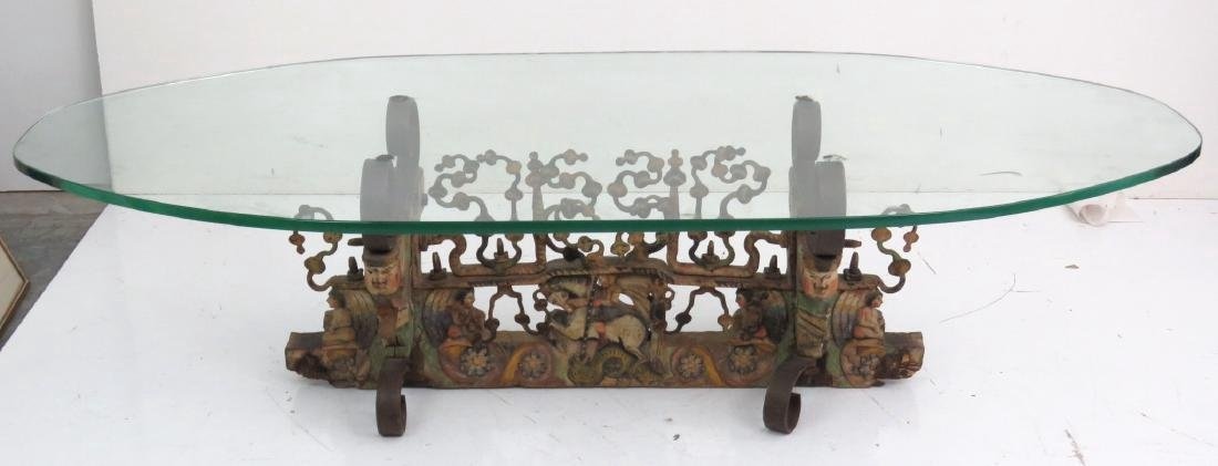 FIGURAL CARVED GLASSTOP COFFEE TABLE - 3