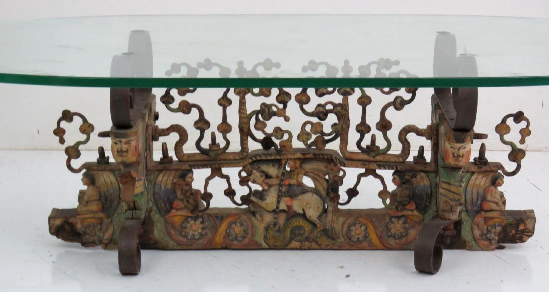 FIGURAL CARVED GLASSTOP COFFEE TABLE - 4
