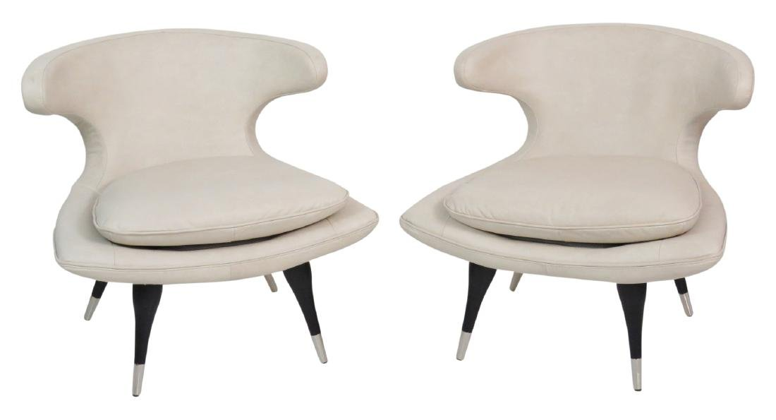 Pair KARPEN STYLE LEATHER HORN CHAIRS