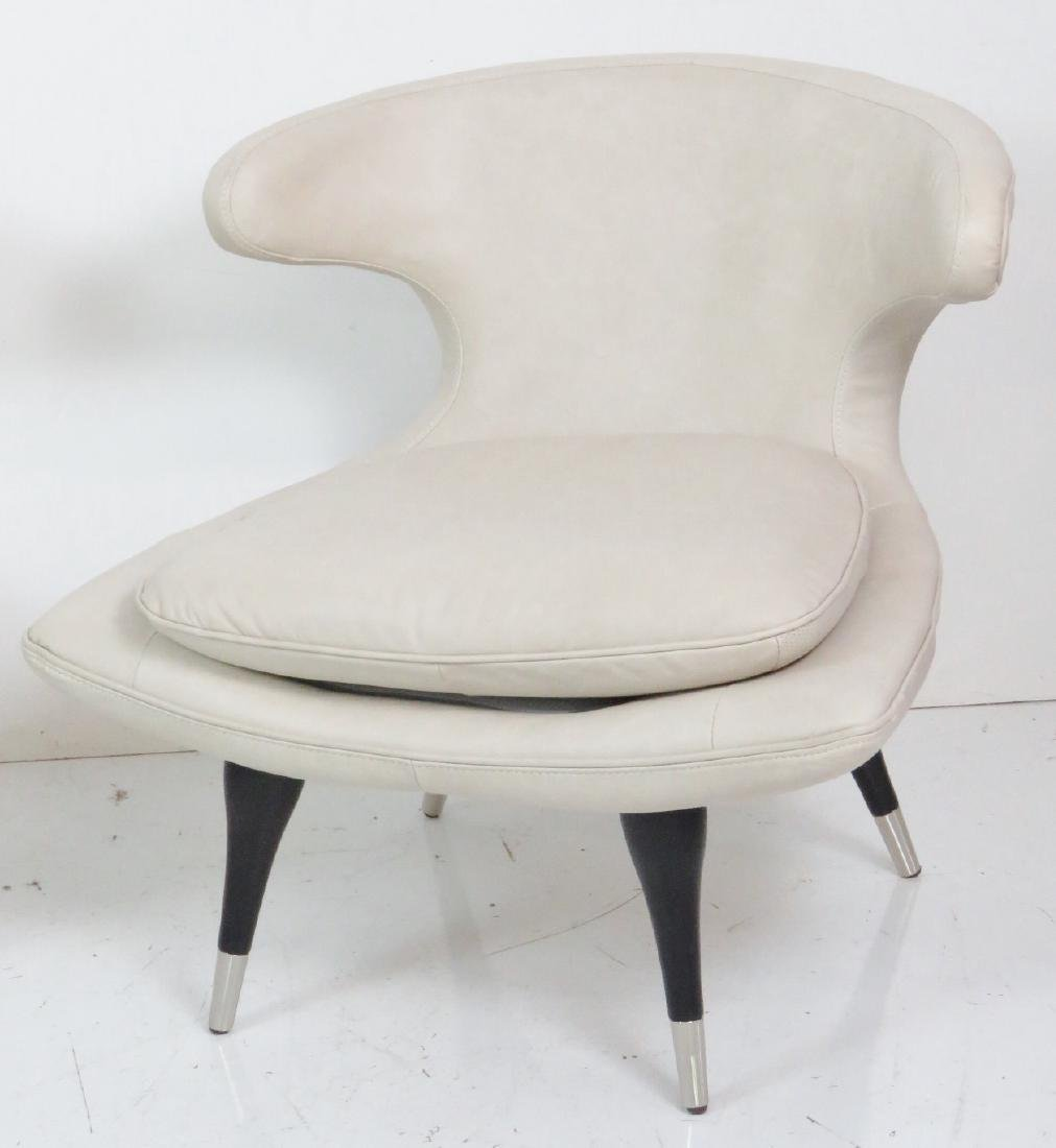 Pair KARPEN STYLE LEATHER HORN CHAIRS - 2