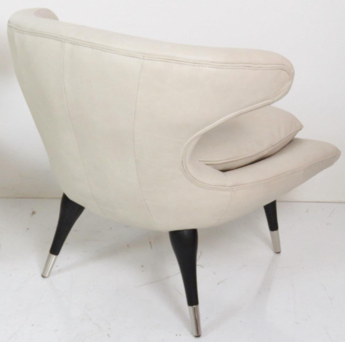 Pair KARPEN STYLE LEATHER HORN CHAIRS - 6