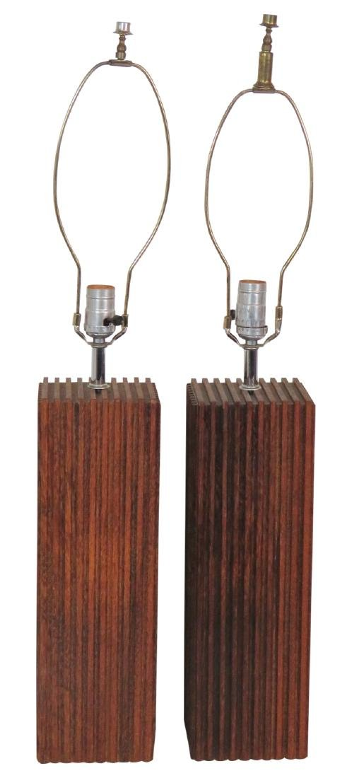 Pair MID CENTURY MODERN WOOD STUDIO TABLE LAMPS