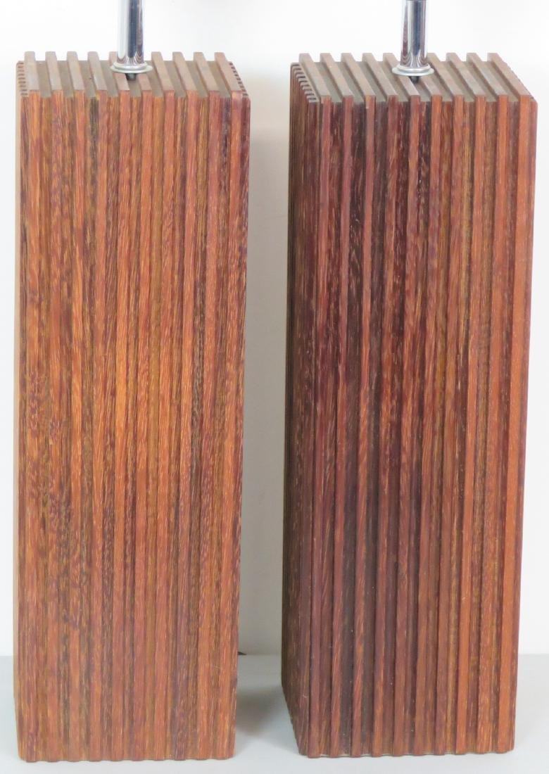 Pair MID CENTURY MODERN WOOD STUDIO TABLE LAMPS - 3