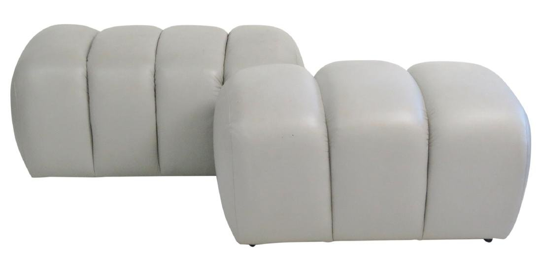 COMPANION Pair GRAY LEATHER TUFTED OTTOMANS