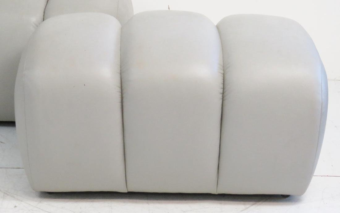 COMPANION Pair GRAY LEATHER TUFTED OTTOMANS - 2