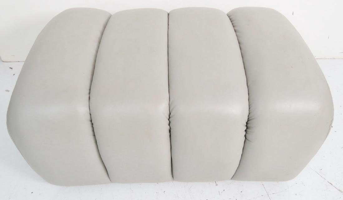 COMPANION Pair GRAY LEATHER TUFTED OTTOMANS - 4