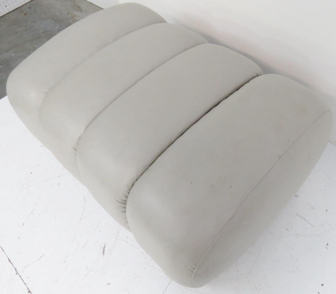COMPANION Pair GRAY LEATHER TUFTED OTTOMANS - 5