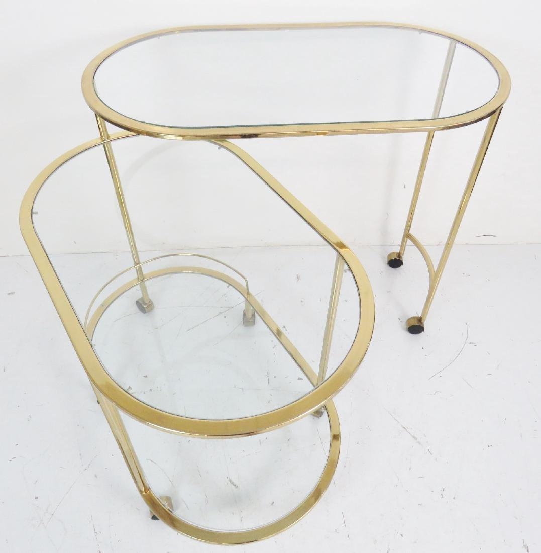 KARL SPRINGER STYLE BRASS & GLASS CART - 3