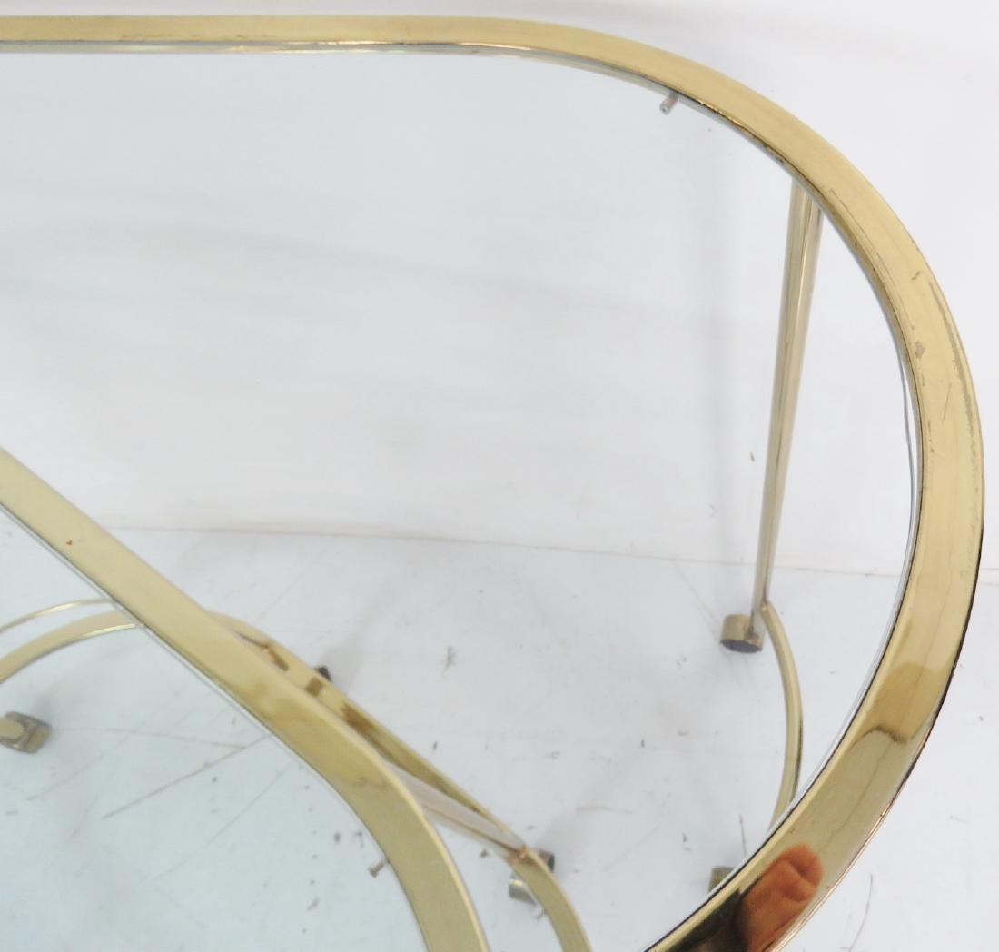 KARL SPRINGER STYLE BRASS & GLASS CART - 5