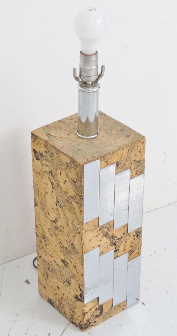 PAUL EVANS STYLE CORK & MIRRORED LAMP - 2