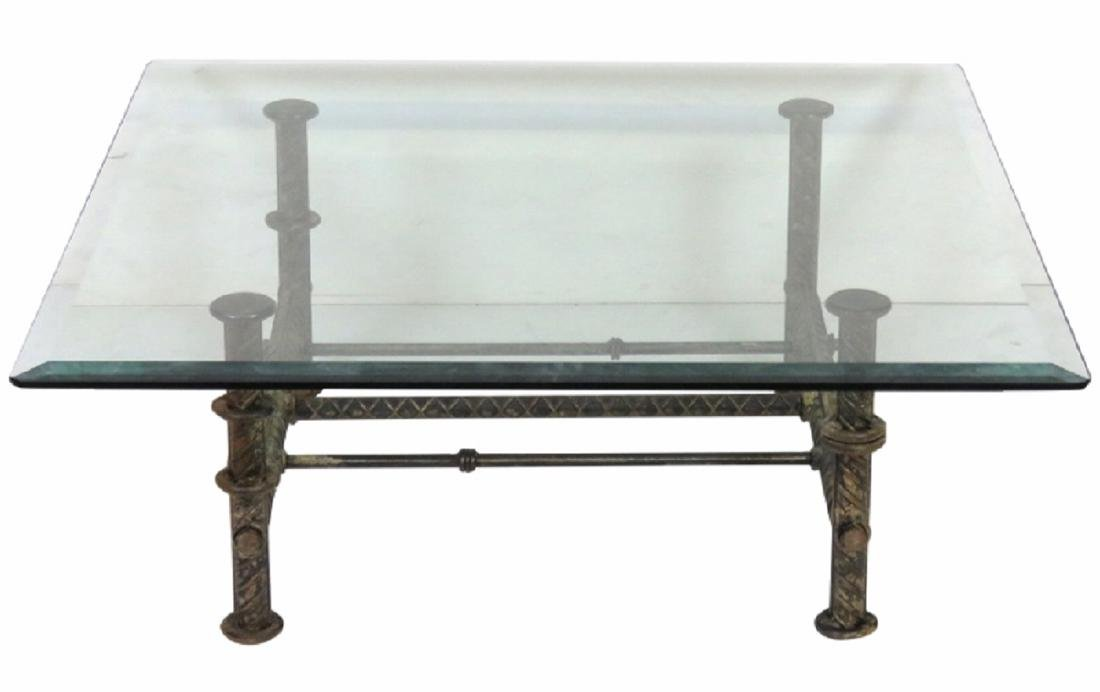INDUSTRIAL DESIGN IRON & GLASS COCKTAIL TABLE