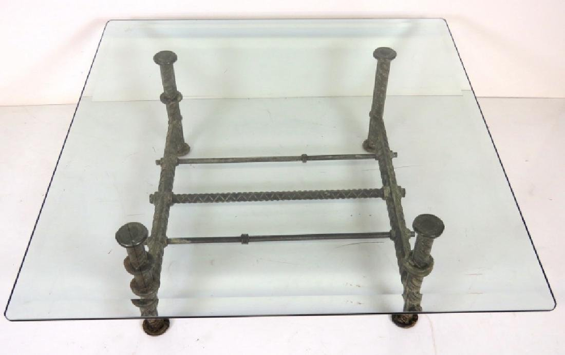 INDUSTRIAL DESIGN IRON & GLASS COCKTAIL TABLE - 2