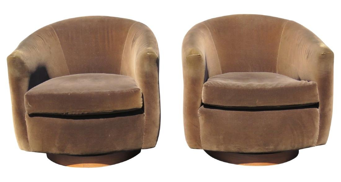 Pair MILO BAUGHMAN STYLE UPHOLSTERED SWIVEL CLUB CHAIRS