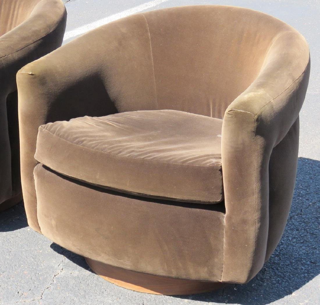 Pair MILO BAUGHMAN STYLE UPHOLSTERED SWIVEL CLUB CHAIRS - 2