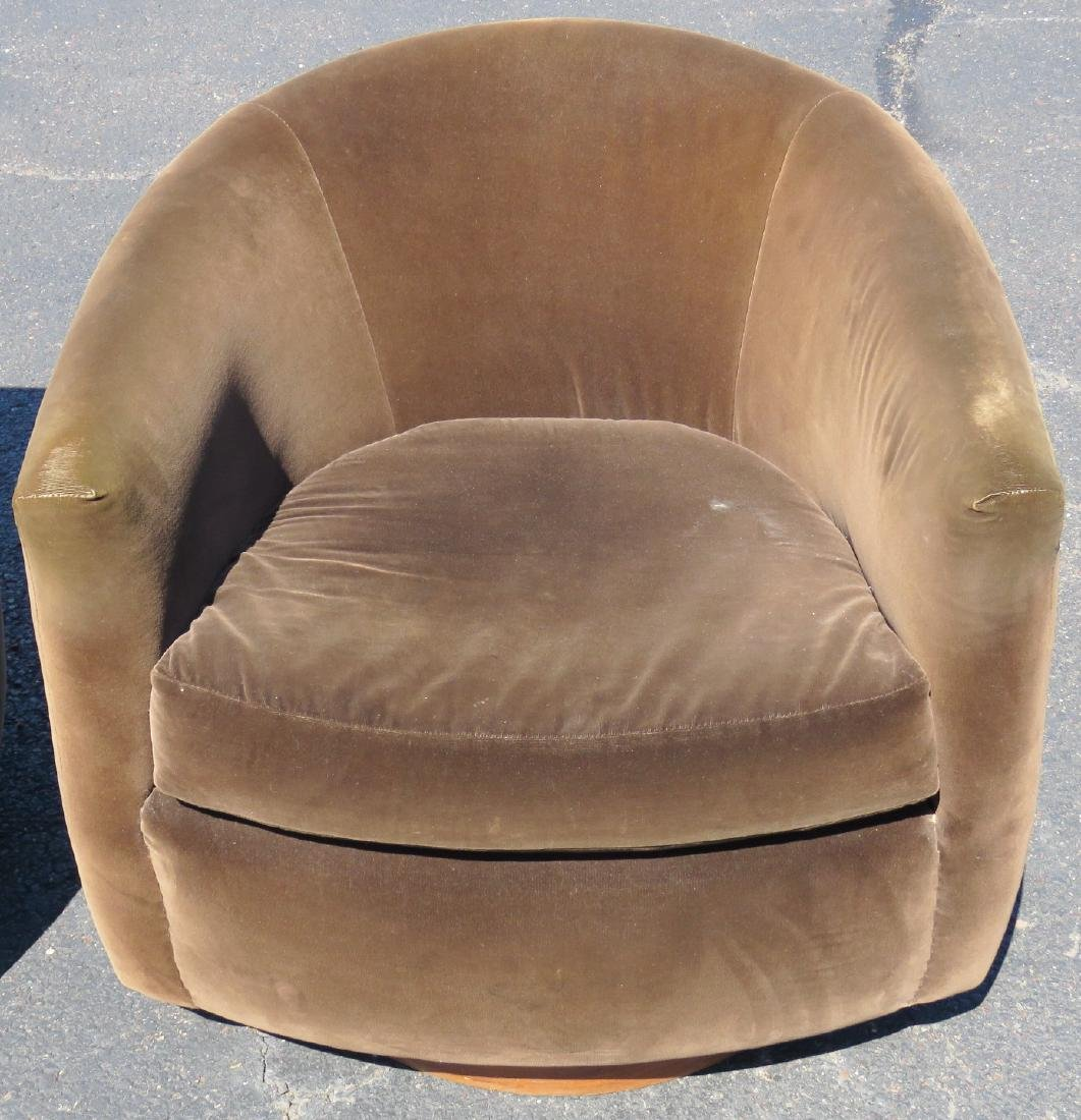 Pair MILO BAUGHMAN STYLE UPHOLSTERED SWIVEL CLUB CHAIRS - 3