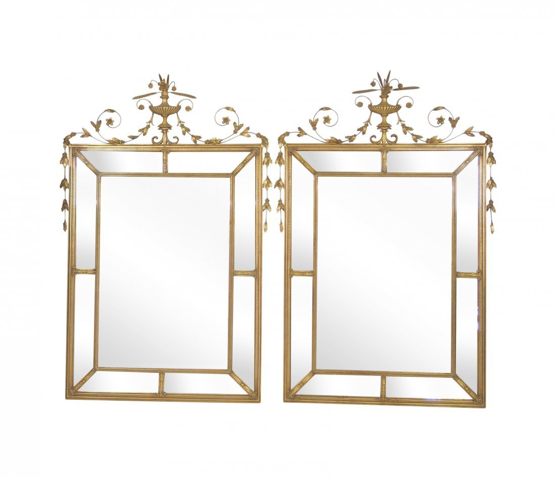 Pair NEOCLASSICAL STYLE GILT BEVELED GLASS MIRRORS