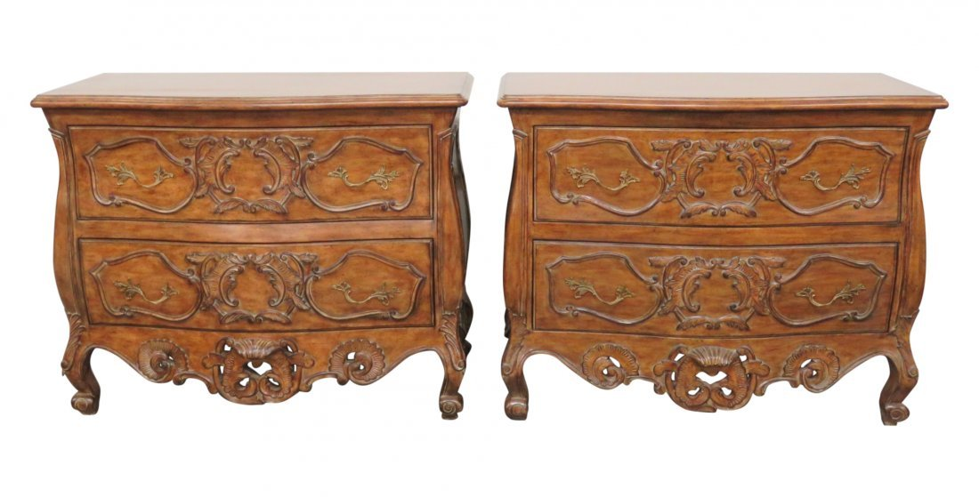 Pair ITALIAN STYLE CARVED COMMODES