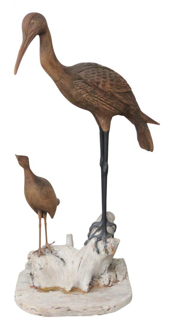 CARVED BIRD STATUE of CRANE & DUCK