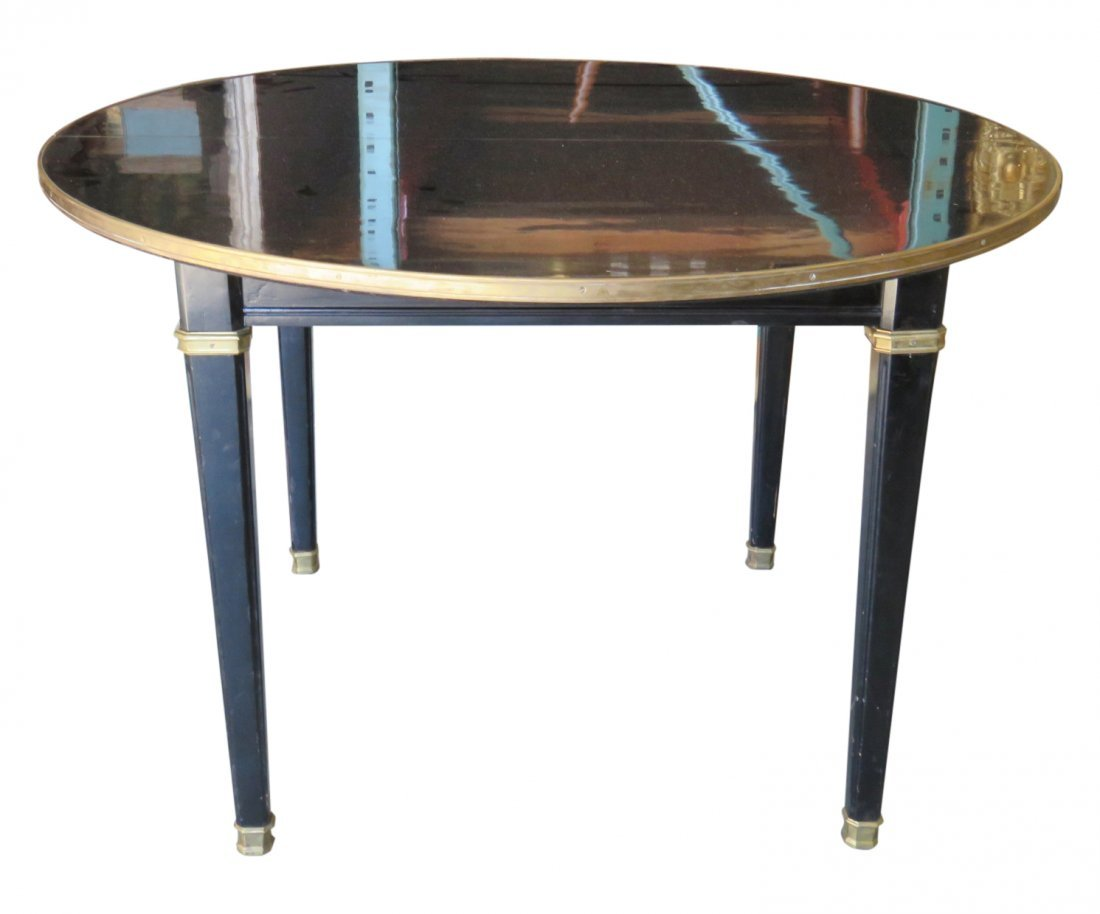 JANSEN LOUIS XV STYLE EBONIZED DINING TABLE