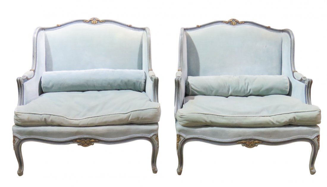 Pair LOUIS XVI STYLE TURQUOISE PAINTED & GILT MARQUIS
