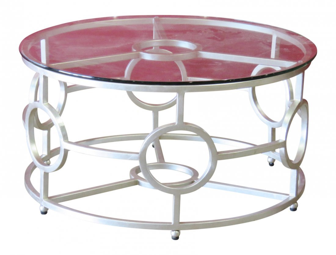 DECO STYLE SILVER GILT GLASSTOP COFFEE TABLE