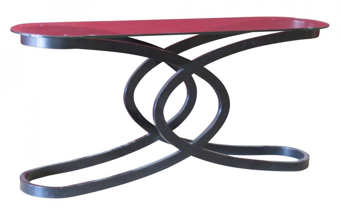 DECO STYLE EBONIZED GLASSTOP CONSOLE TABLE