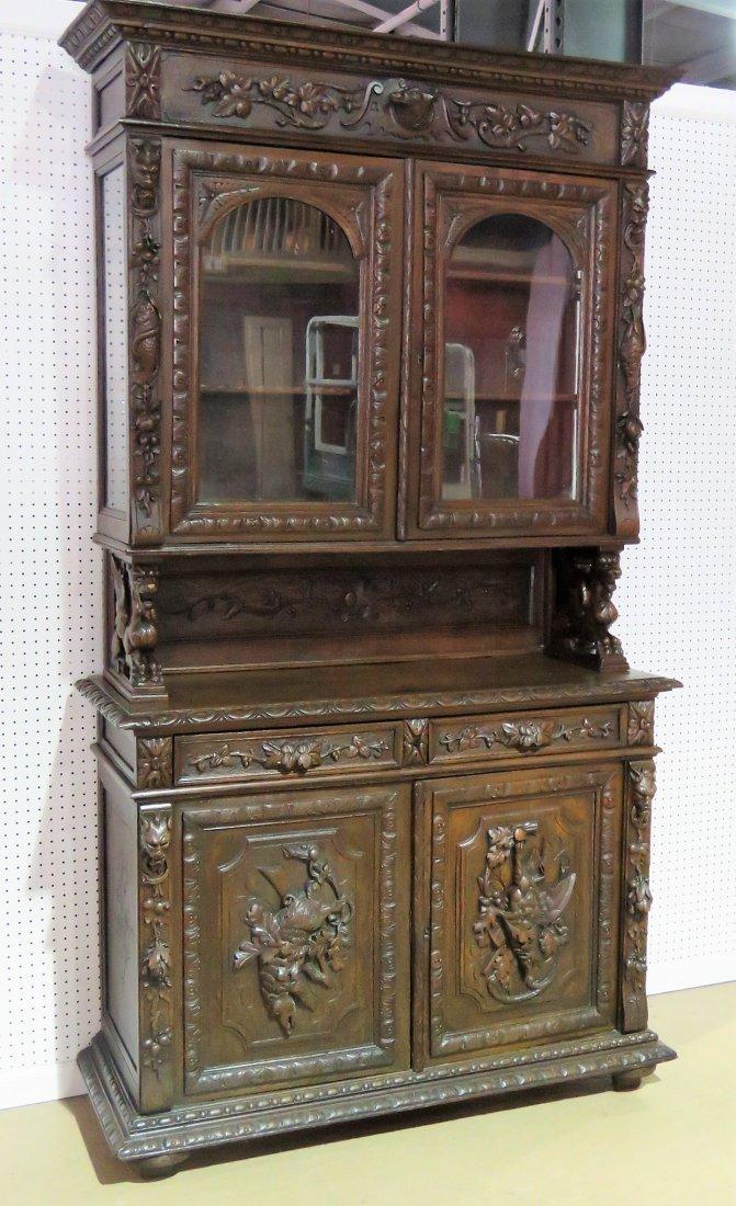 Jacobean china cabinet in walnut