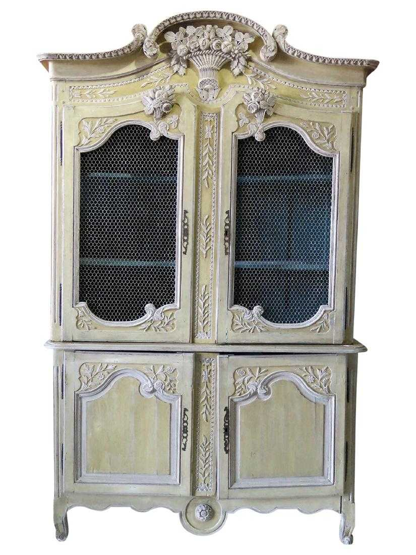 19th C Normandy Style Distressed Painted Cupboard