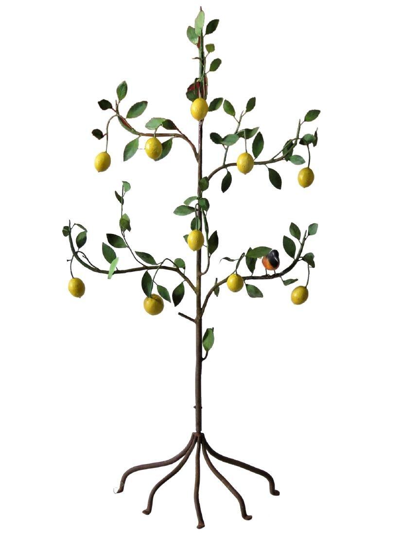 RARE ITALIAN TOLE PAINTED METAL LEMON TREE STATUE