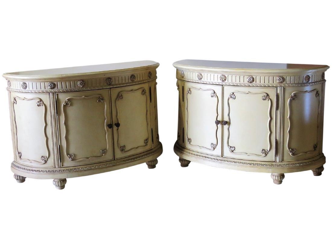 Pair SWEDISH STYLE DISTRESSED PAINTED COMMODES