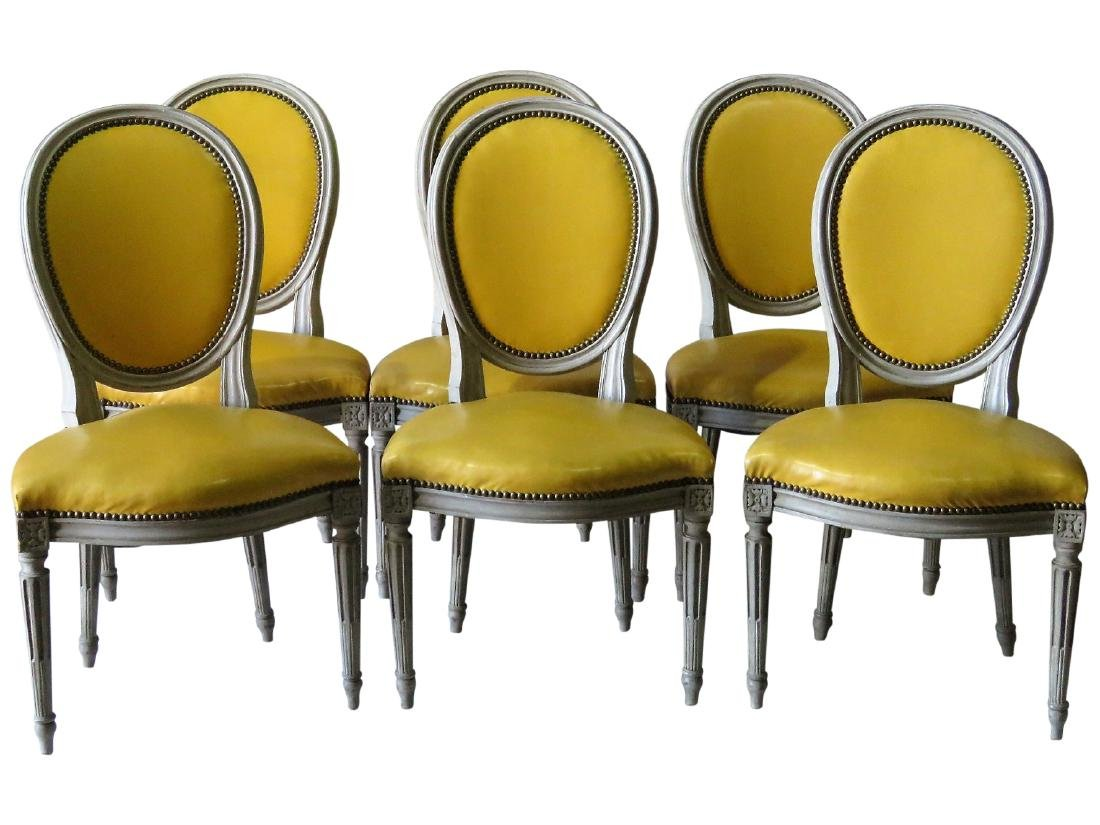 6 JANSEN STYLE DISTRESSED PAINTED DINING CHAIRS