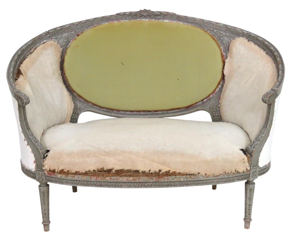 ANTIQUE LOUIS XVI STYLE DISTRESSED PAINTED SETTEE