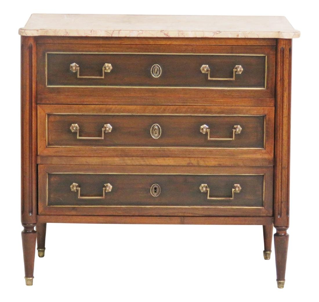 JANSEN STYLE MARBLETOP CHEST OF DRAWERS