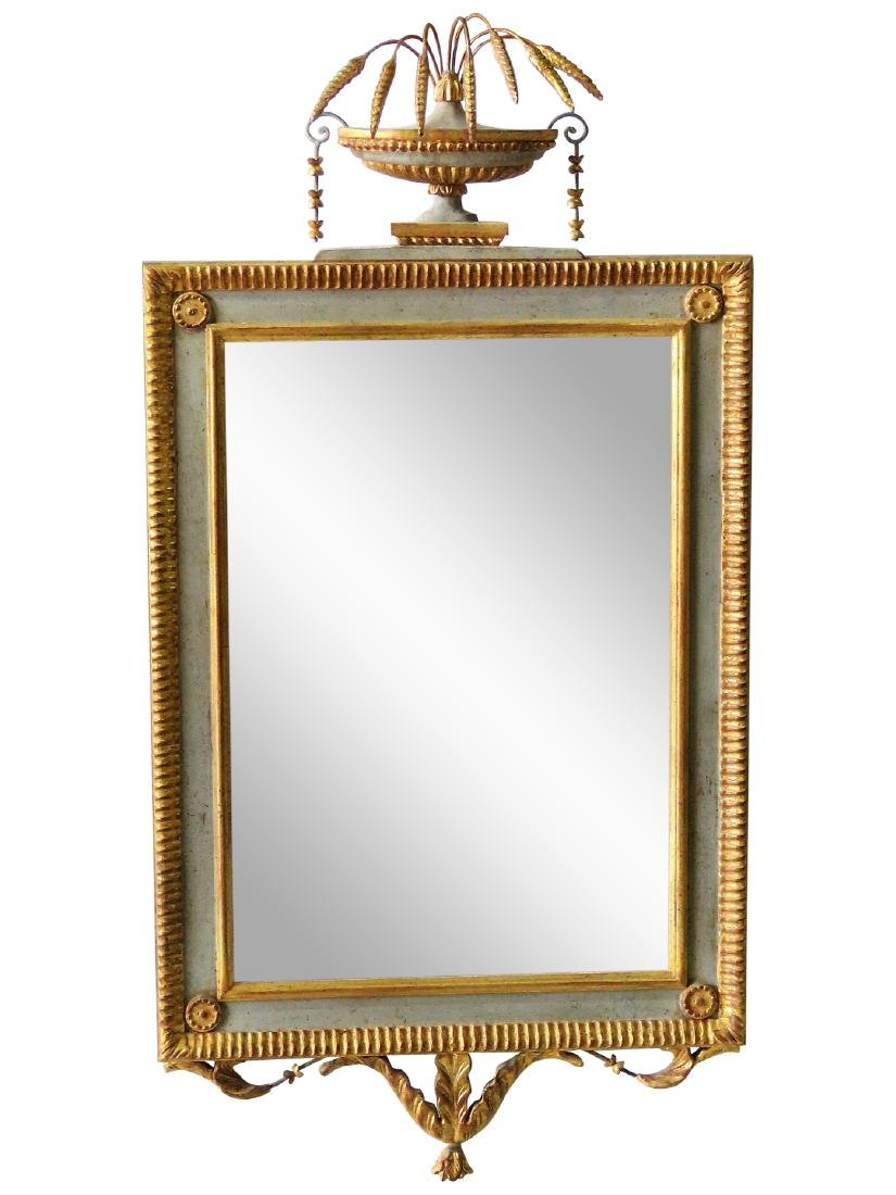 ADAMS STYLE GILT CARVED & PAINTED MIRROR