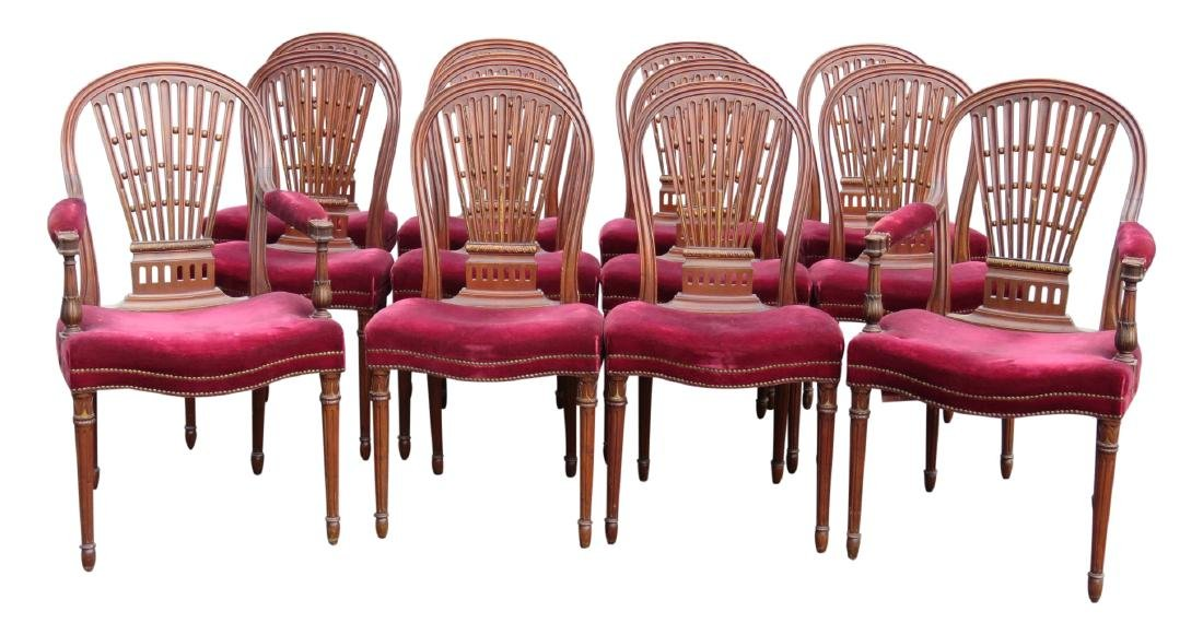 12 JANSEN DIRECTOIRE STYLE CARVED WALNUT DINING CHAIRS