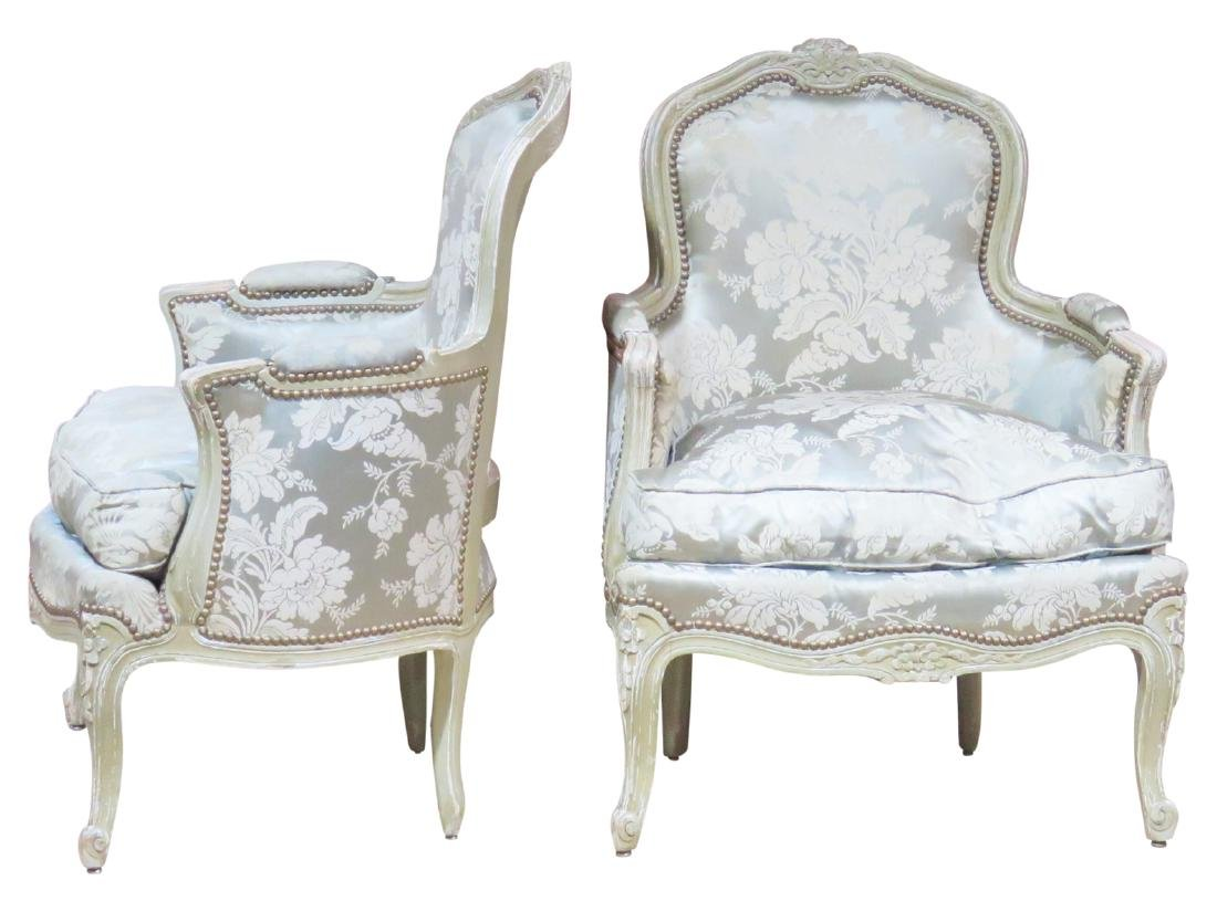 Pair LOUIS XVI STYLE CARVED PAINT DECORATED BERGERES