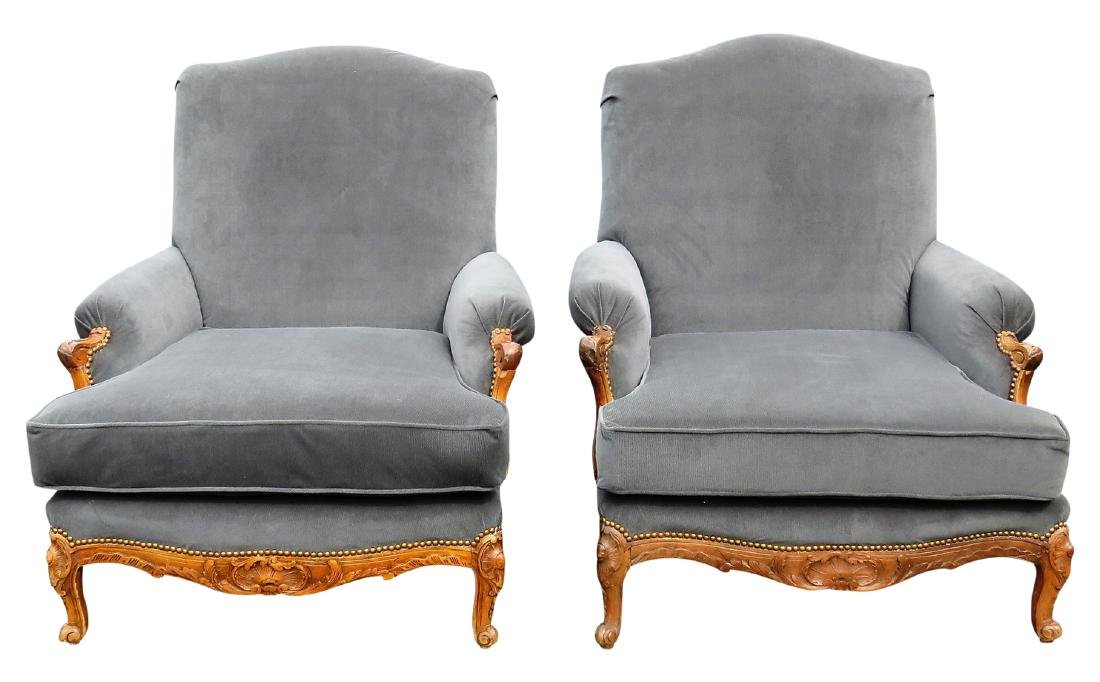 Pair OVERSIZED CARVED WALNUT LOUNGE CHAIRS