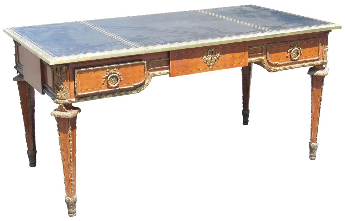 LOUIS XV STYLE PARQUETRY INLAID LEATHERTOP DESK