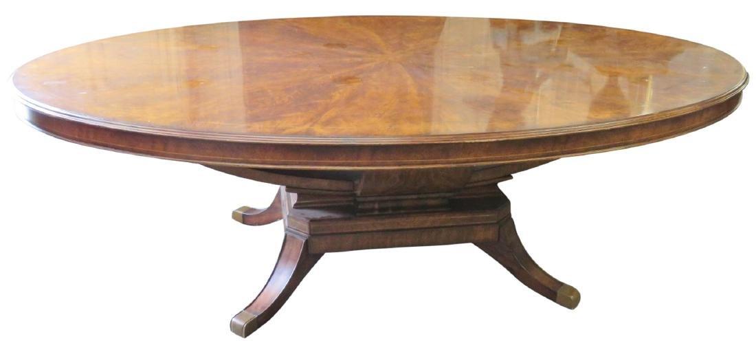 REGENCY STYLE BURL WALNUT DINING TABLE